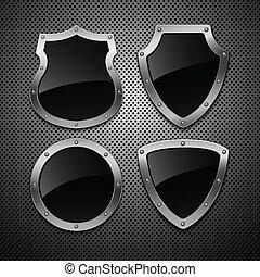 jogo, de, vetorial, shields., vetorial, illustration., eps,...