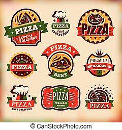 jogo, de, vetorial, vindima, pizza, etiquetas