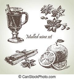 jogo, de, vinho mulled, fruta, e, temperos, mão, desenhado,...