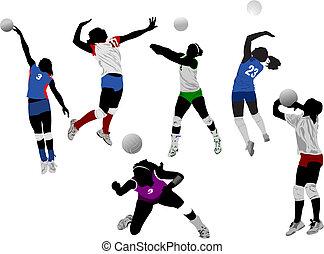 jogo, de, voleibol, mulheres, silhuetas