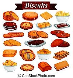 jogo, de, yummy, sortido, biscoitos, e, biscoito, alimento, sobremesa