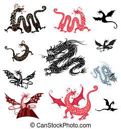 jogo, decoração, de, dragões