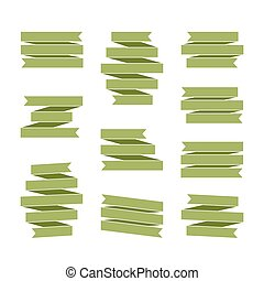jogo, decoração, verde, em branco, bandeiras, Fita
