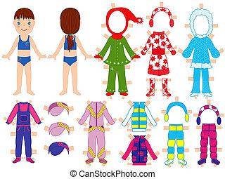 jogo, dela, boneca, morno, papel, roupas
