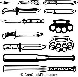 jogo, des, weapon., junta, gangsta, basebol, bronze, bats., facas