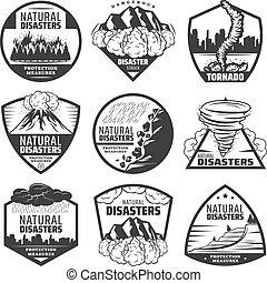 jogo, desastre natural, vindima, etiquetas, monocromático