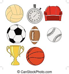 jogo, desporto, ilustração, objetos