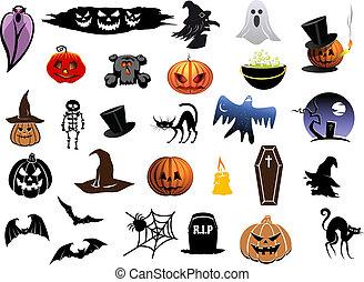 jogo, dia das bruxas, ícones