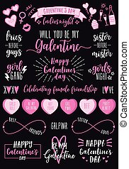 jogo, dia, dia, galentines, partido, femininas, vetorial, valentines