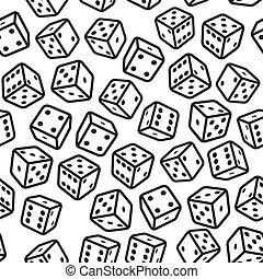 jogo, dices, seamless, padrão, branco, experiência., vetorial