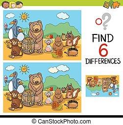 jogo, diferenças, animais