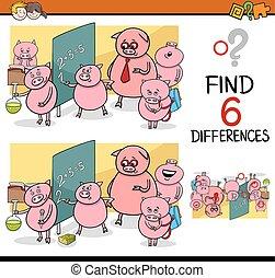 jogo, diferenças, crianças