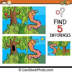 jogo, diferenças, pré-escolar