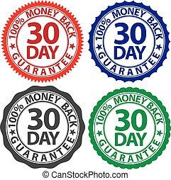 jogo, dinheiro, 100%, 30, costas, ilustração, sinal, vetorial, dia, garantia