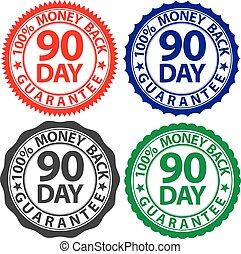 jogo, dinheiro, 100%, costas, ilustração, sinal, vetorial, 90, dia, garantia