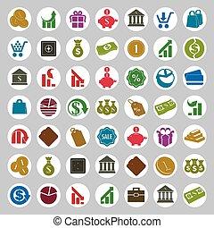 jogo, dinheiro, vetorial, finanças, ícones