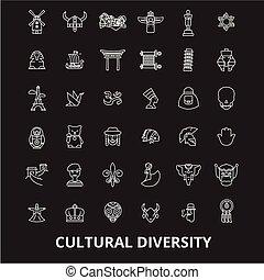 jogo, diversidade, esboço, ícones, branca, editable, símbolos, experiência., cultural, vetorial, pretas, linha, sinais, ilustrações