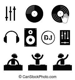 jogo, dj, cor, ilustração, pretas, ícone