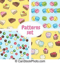 jogo, doce, pattern., desenho, bandeira, cartões.