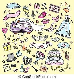 jogo, doodle, casório, desenhado, mão