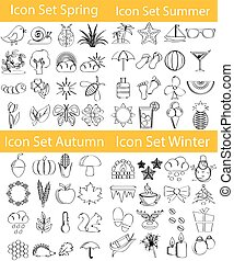 jogo, doodle, quatro estações, desenhado, alinhado, ícone