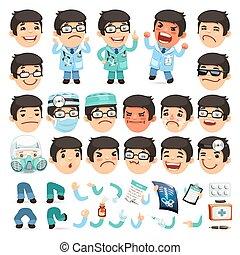 jogo, doutor, personagem, ou, aanimation, desenho, caricatura, seu