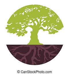 jogo, eco, árvore., vetorial