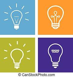 jogo, elétrico, ícones, luz, -, idéia, sinal, bulbo