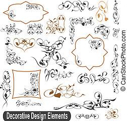 jogo, elementos, calligraphic, vetorial, desenho, bordas, fronteiras
