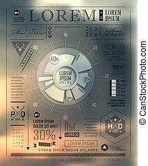 jogo, elementos, de, infographics