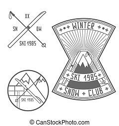 jogo, elementos, desenho, retro, emblemas, esqui, emblemas
