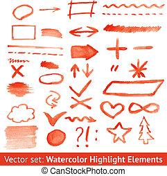 jogo, elements., aquarela, vetorial, destaque, vermelho