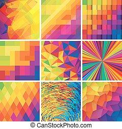 jogo, elements., coloridos, abstratos, vetorial, desenho, backgrounds.