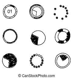 jogo, elements., negócio, diagram., mapa, icons., vetorial, ilustração, doodles, círculo