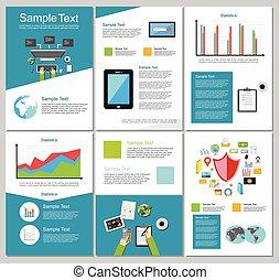 jogo, elements., negócio, ou, experiência., infographic, desenho, voador, folheto, tecnologia, template., templates.