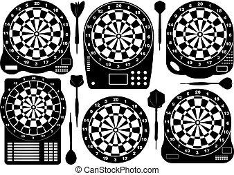 jogo, eletrônico, dartboards