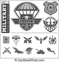 jogo, emblema, ar, vetorial, desenho, modelo, militar, força