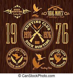 jogo, emblema, caça, -, vetorial, pato