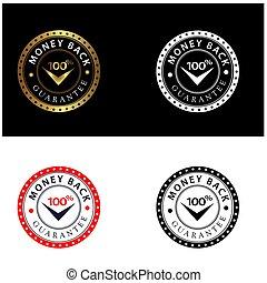 jogo, emblema, dinheiro, 100%, costas, selos, quatro, vetorial, garantia