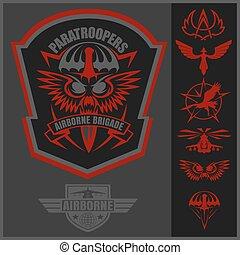 jogo, emblema, vetorial, desenho, unidade, militar, template., especiais