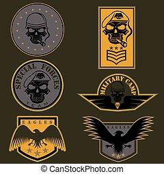 jogo, emblema, vetorial, desenho, unidade, modelo, militar, especiais