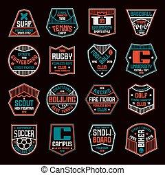 jogo, emblemas, esportes