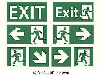 jogo, emergência, -, sinal, vetorial, saída assina