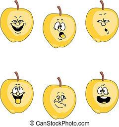 jogo, emoção, amarela, maçã, caricatura, 018