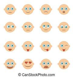jogo, emoji., emoticons, isolado, icons., vetorial, sorrizo