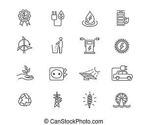 jogo, energia, icons., alternativa, fontes, linear