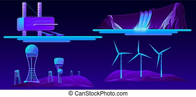 jogo, energia, modernos, fontes, vetorial, caricatura, renovável