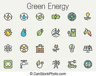 jogo, energia, relatado, vetorial, verde, ícone