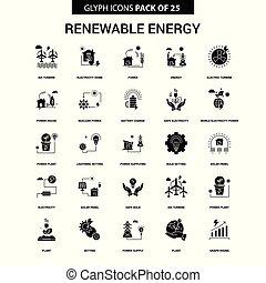 jogo, energia, vetorial, glyph, renovável, ícone