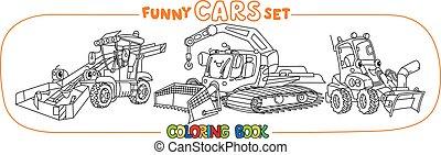 jogo, engraçado, eyes., pequeno, carros, livro, coloração